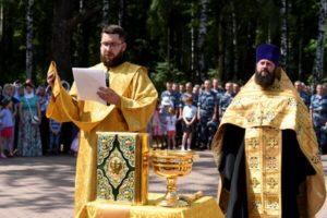 Праздничный молебен у строящегося Князь-Владимирского храма Балашихи